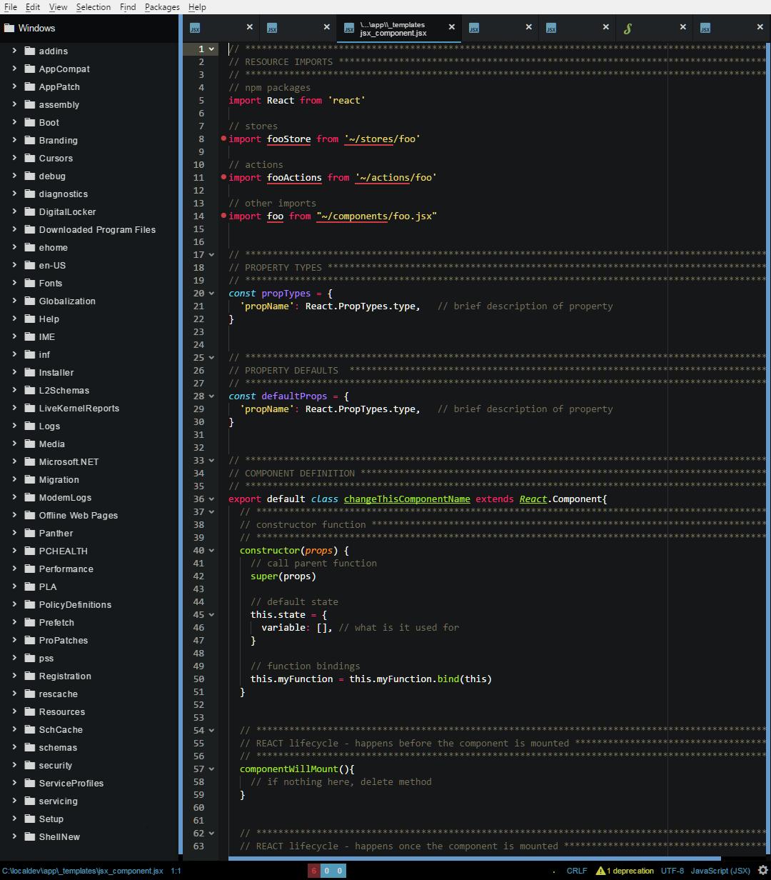 Screenshot of customized Atom IDE