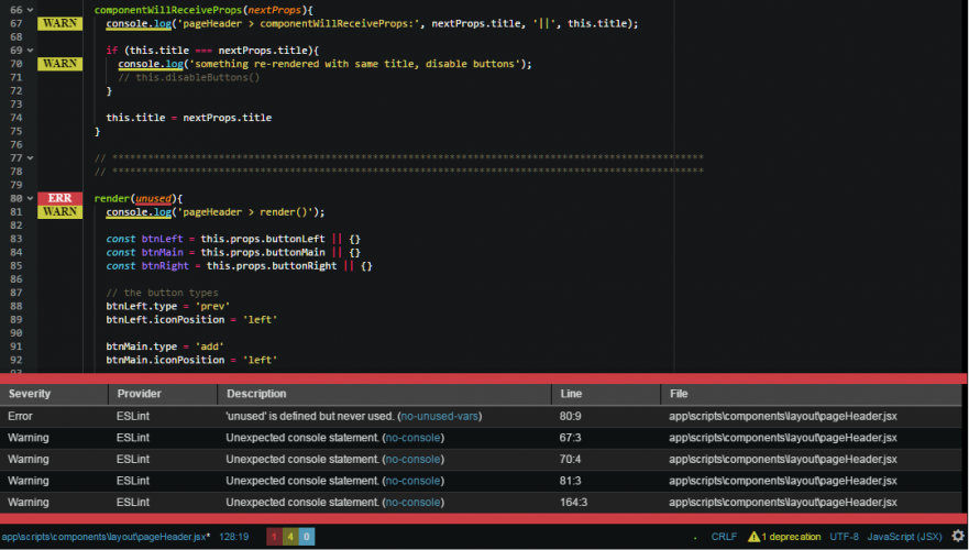 My customized linting display in Atom