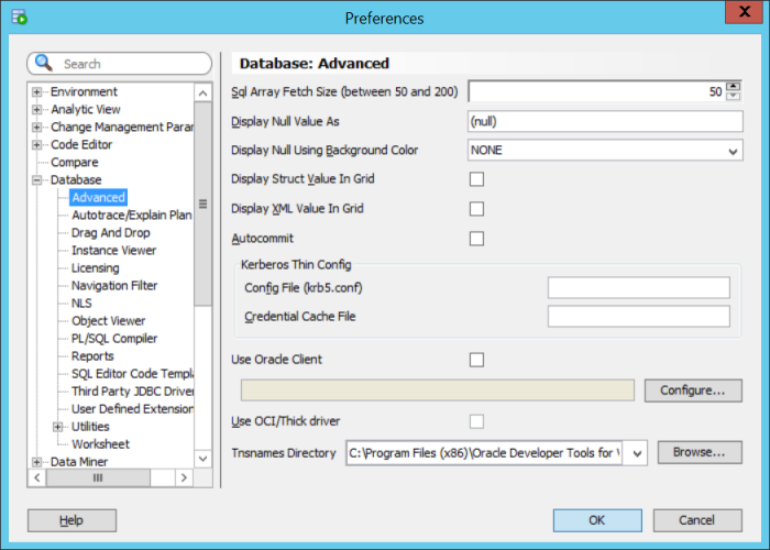 Oracle SQL Developer - Set TNS Names path